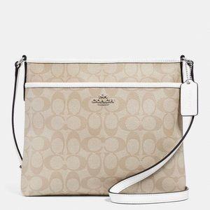 Coach NWT Signature Cream Canvas Crossbody Bag